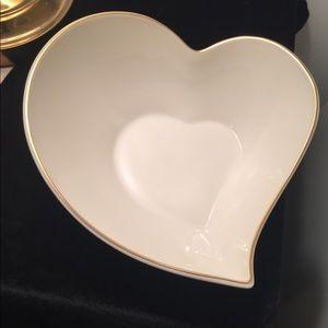 "Lenox 8"" Heart Shaped Bowl Gold Trimmed"